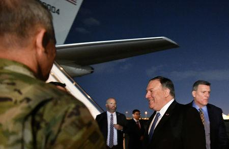 U.S. Secretary of State Mike Pompeo smiles upon arrival at Baghdad International Airport in Baghdad, Iraq May 7, 2019. Mandel Ngan/Pool via REUTERS