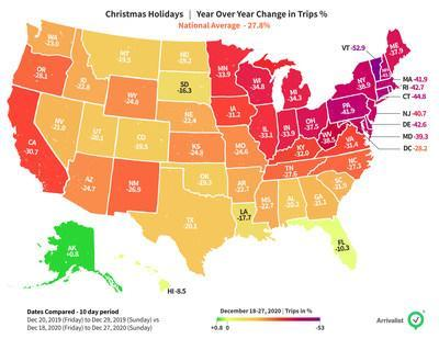 Christmas road trip travel was down more than 25% this year but many Americans still hit the road