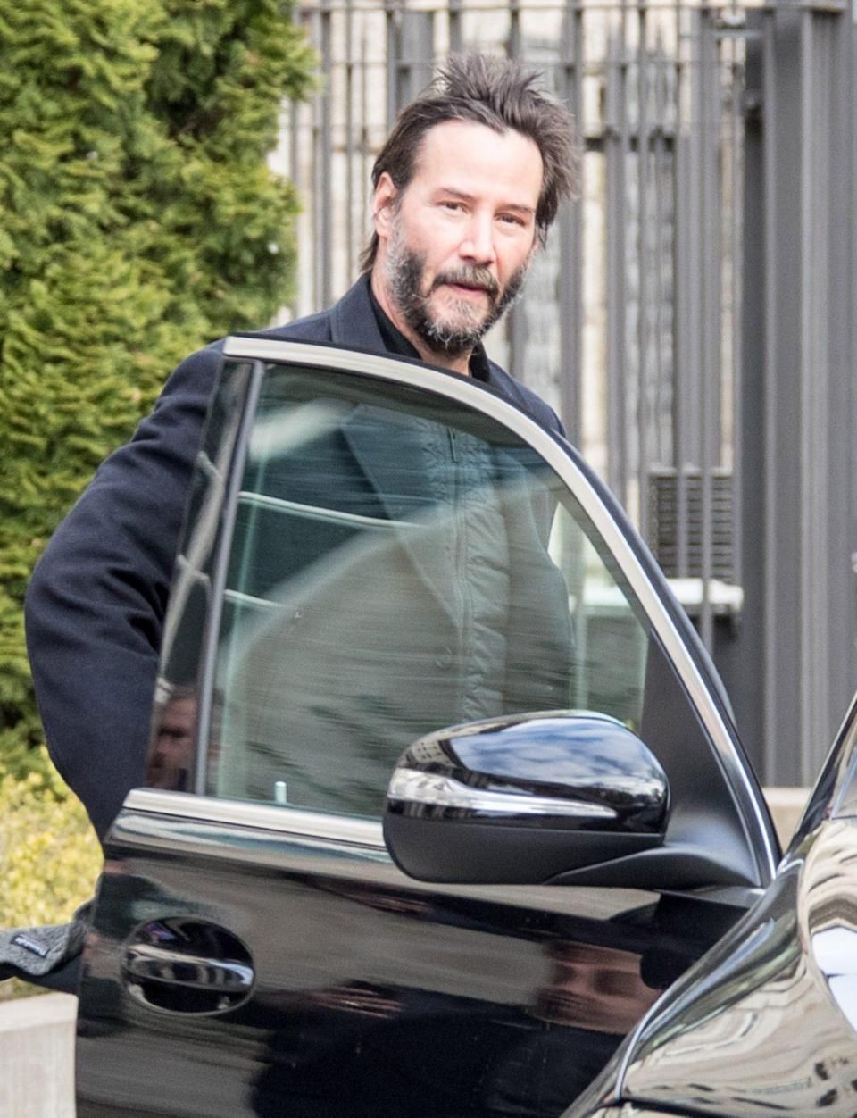 <p>Keanu Reeves is seen on Thursday in Berlin, where he's filming the fourth installment of the<i> John Wick</i> franchise. </p>