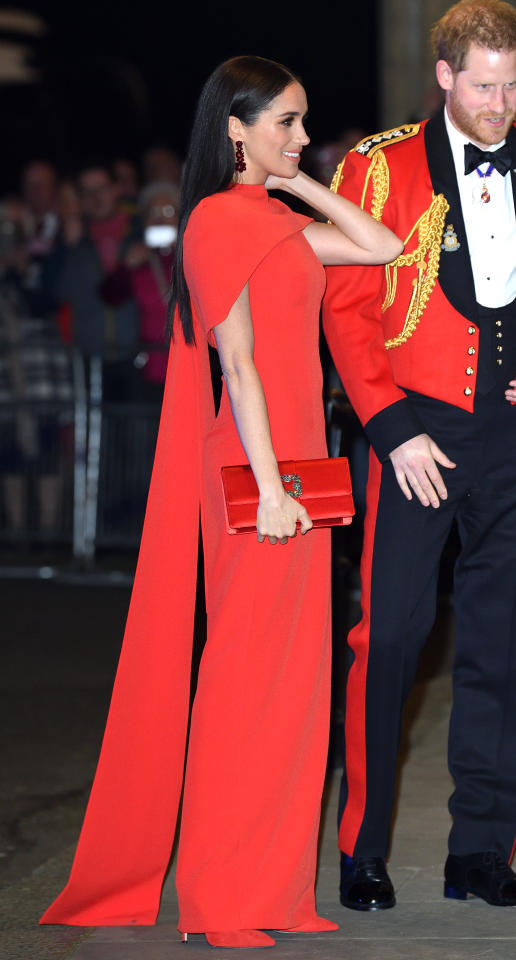 LONDON, ENGLAND - MARCH 07: Prince Harry, Duke of Sussex and Meghan, Duchess of Sussex attend the Mountbatten Festival of Music at Royal Albert Hall on March 07, 2020 in London, England. (Photo by Karwai Tang/WireImage)