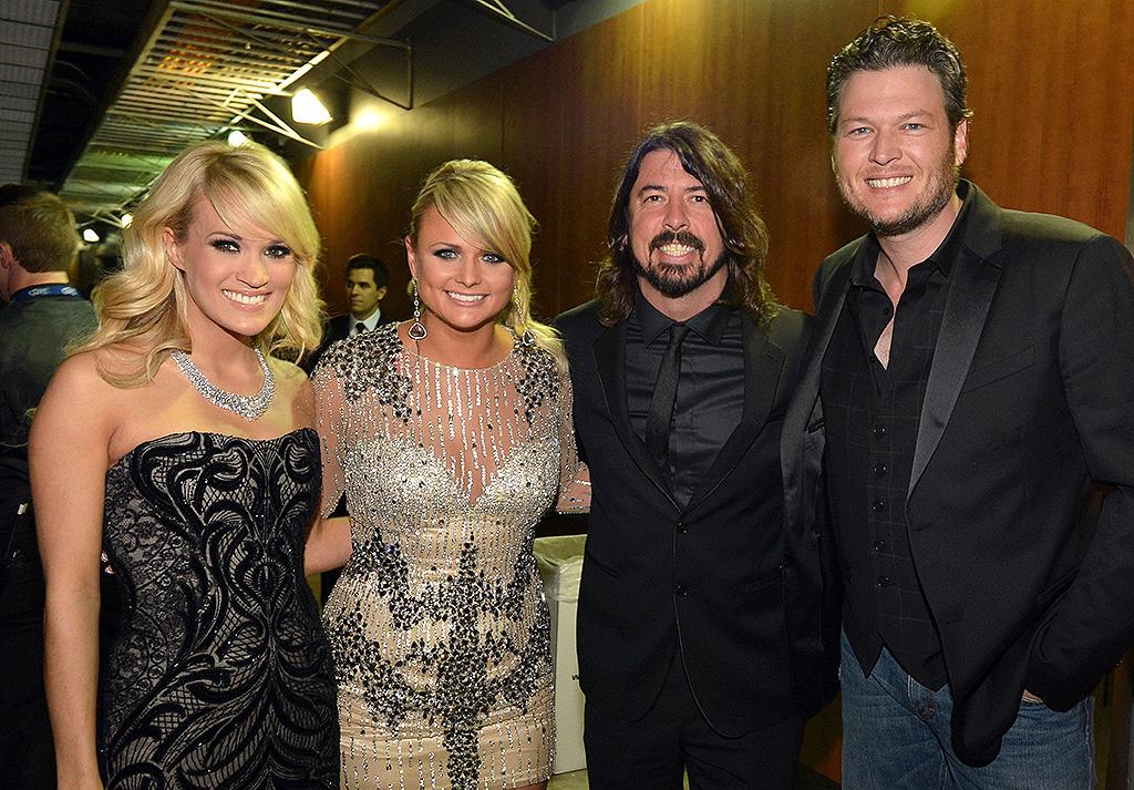 LOS ANGELES, CA - FEBRUARY 10:  (L-R)  Singers Carrie Underwood, Miranda Lambert, Dave Grohl, and Blake Shelton attends the 55th Annual GRAMMY Awards at STAPLES Center on February 10, 2013 in Los Angeles, California.  (Photo by Rick Diamond/WireImage)