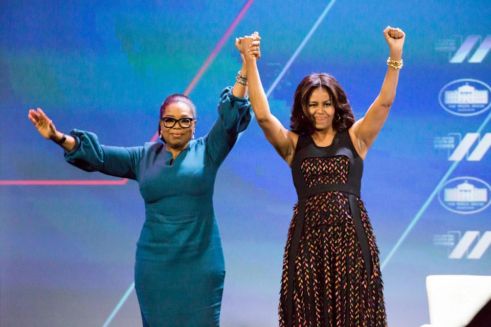 Washington, DC – On Tuesday, June 14, at the Walter E. Washington Convention Center, l-r, Oprah Winfrey, and First Lady Michelle Obama, say goodbye to attendees, after their armchair conversation on Trailblazing the Path for the Next Generation of Women, at The White House Summit on The United State of Women. (Photo by Cheriss May/NurPhoto)