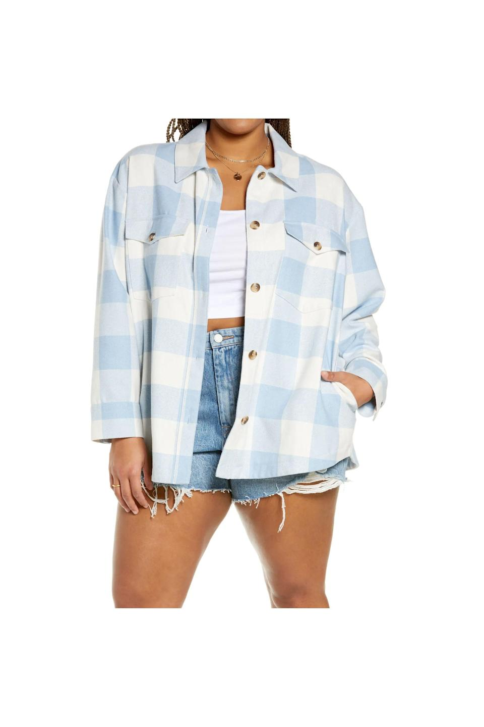"""<p><strong>BP.</strong></p><p>nordstrom.com</p><p><strong>$49.00</strong></p><p><a href=""""https://go.redirectingat.com?id=74968X1596630&url=https%3A%2F%2Fwww.nordstrom.com%2Fs%2Fbp-womens-plaid-shirt-jacket-plus-size%2F5702060&sref=https%3A%2F%2Fwww.cosmopolitan.com%2Fstyle-beauty%2Ffashion%2Fg36232237%2Fbest-shackets%2F"""" rel=""""nofollow noopener"""" target=""""_blank"""" data-ylk=""""slk:Shop Now"""" class=""""link rapid-noclick-resp"""">Shop Now</a></p><p>Imagine all the IG-worthy picnics you would have in this.</p>"""