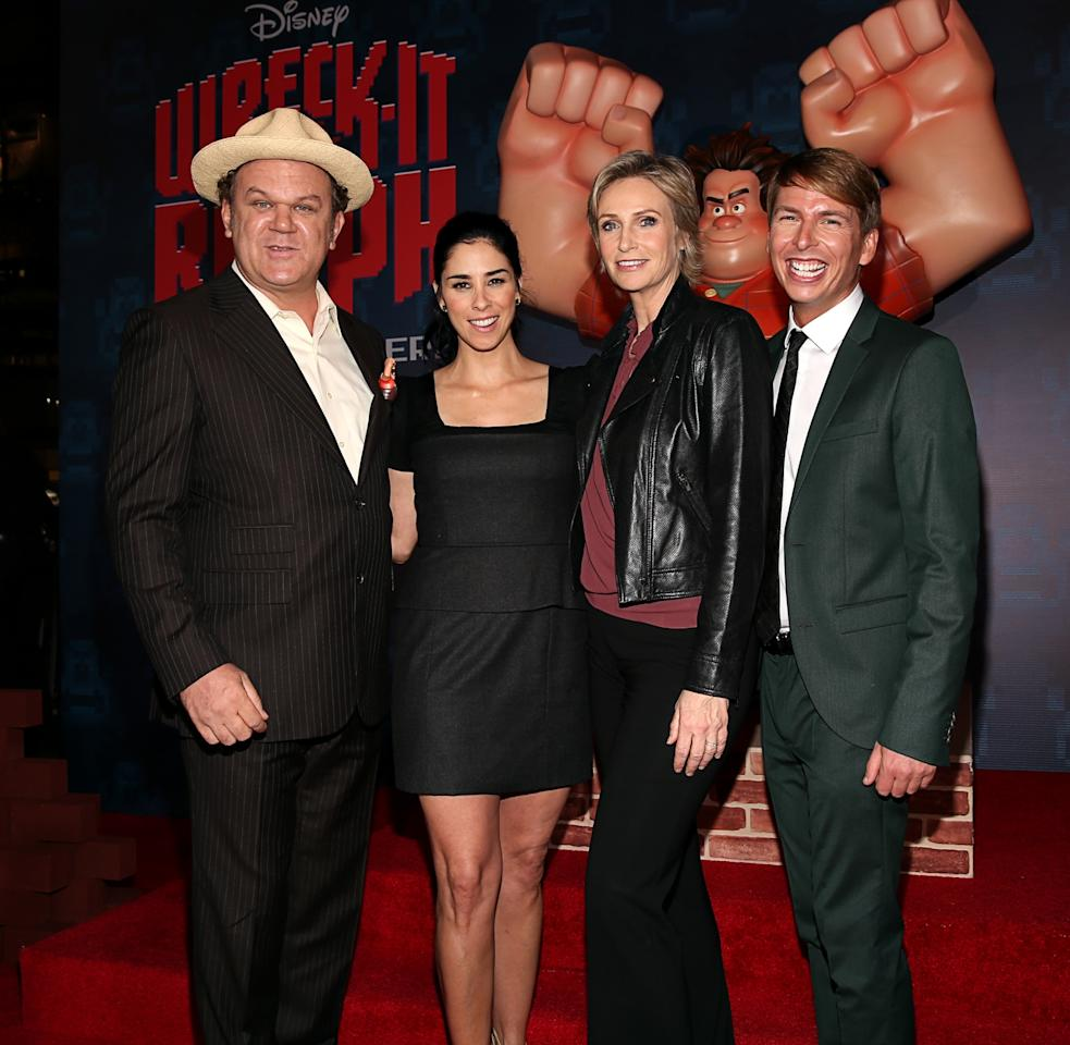 "HOLLYWOOD, CA - OCTOBER 29:  Actors John C. Reilly, Sarah Silverman, Jane Lynch, and Jack McBrayer at the Premiere Of Walt Disney Animation Studios' ""Wreck-It Ralph"" - Red Carpet at the El Capitan Theatre on October 29, 2012 in Hollywood, California.  (Photo by Christopher Polk/Getty Images)"