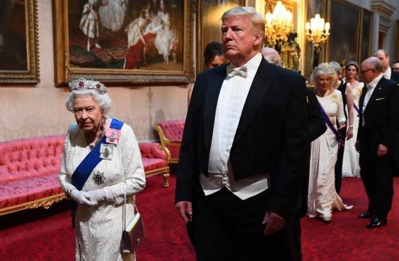 Queen Elizabeth II and President Trump at state banquet in June (AFP/Getty)