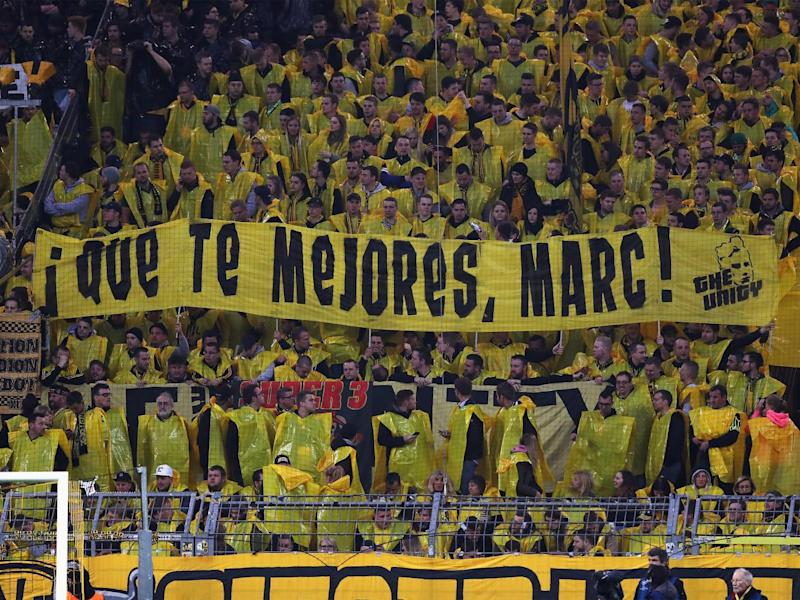 Dortmund fans show their support for Marc Bartra (Getty)