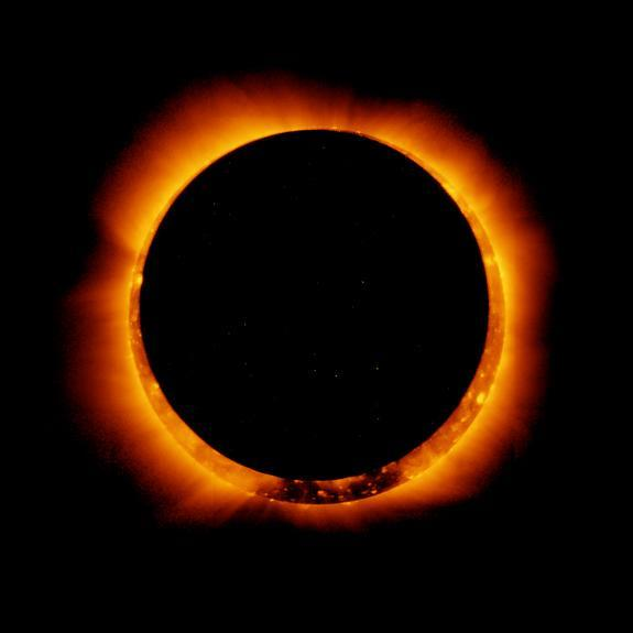 On Jan. 4, 2011, the moon passed in front of the sun in a partial solar eclipse - as seen from parts of Earth. Here, the joint Japanese-American Hinode satellite captured the same breathtaking event from space. The unique view created what's ca