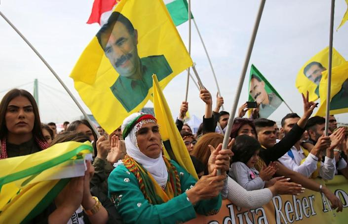 Abdullah Ocalan remains an icon for many in southeast Turkey with his face plastered on flags and banners at rallies (AFP Photo/Oliver Berg)