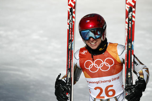 Czech Republic's Ester Ledecka smiles after competing in the women's Super-G at the 2018 Winter Olympics in Jeongseon, South Korea. (AP)