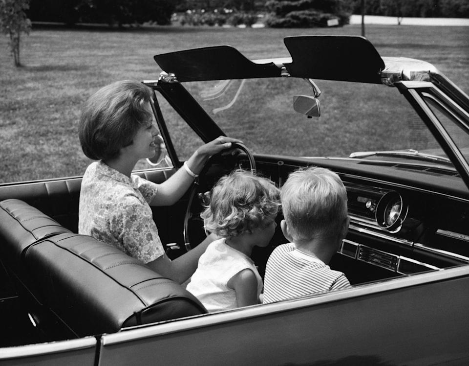 "<p>Little kids would sit in the passenger seat without a seatbelt. The ""safety method"" was this: Mom or Dad would fling an arm in front of you if they had to stop short. Infants rode sometimes in unattached baby seats. They were kept up front in the seat next to Mom—or in someone's lap! Bigger babies or toddlers rode in shoddy car seats. Seat belts just went across the lap. Serious seat belts and appropriate <a href=""https://www.cdc.gov/mmwr/preview/mmwrhtml/mm4818a1.htm"" rel=""nofollow noopener"" target=""_blank"" data-ylk=""slk:car seat regulations"" class=""link rapid-noclick-resp"">car seat regulations</a> did not arrive <a href=""http://www.sciencedirect.com/science/article/pii/S0277953613005832"" rel=""nofollow noopener"" target=""_blank"" data-ylk=""slk:until the '70s"" class=""link rapid-noclick-resp"">until the '70s</a> and airbags in the '80s.<br></p>"