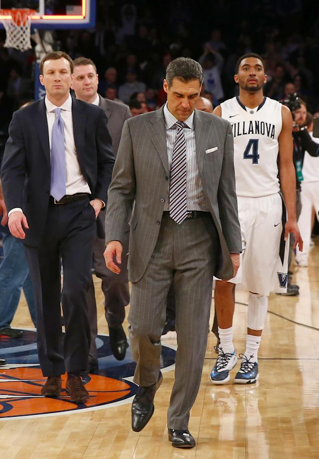 NEW YORK, NY - MARCH 13: Head coach Jay Wright of the Villanova Wildcats walks off the court after the loss to Seton Hall Pirates during the quarterfinals of the Big East Basketball Tournament at Madison Square Garden on March 13, 2014 in New York City.Seton Hall Pirates defeated the Villanova Wildcats 65-63. (Photo by Elsa/Getty Images)