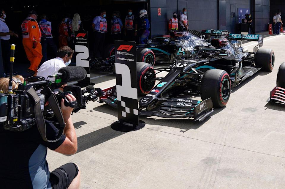<p>Mercedes' British driver Lewis Hamilton takes pole position for the Formula One British Grand Prix at the Silverstone motor racing circuit in Silverstone, central England on August 1, 2020</p>