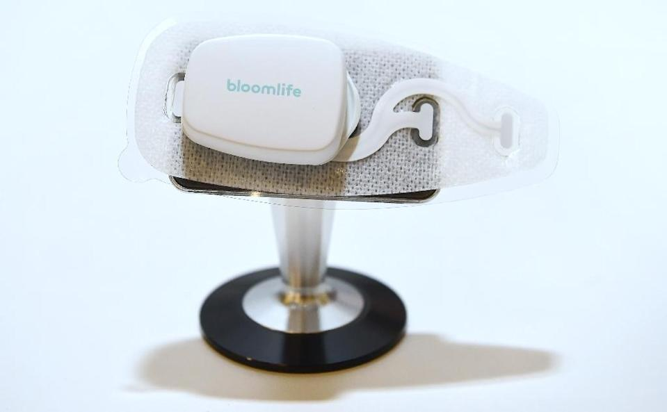 The Smart Pregnancy Tracker from Bloomlife, which allows for automatic tracking and counting of contractions from the convenience of home, is on display at the 2017 Consumer Electronic Show (AFP Photo/Frederic J. BROWN)