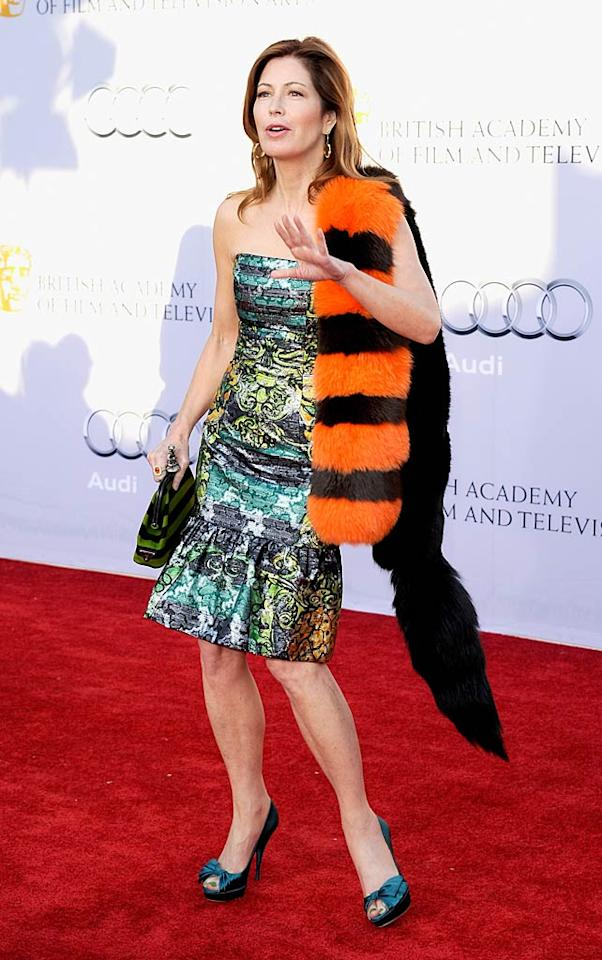 "Apparently, Dana Delany skinned the Cheshire Cat en route to the BAFTA ""Brits to Watch"" bash. Kevork Djansezian/<a href=""http://www.gettyimages.com/"" target=""new"">GettyImages.com</a> - July 9, 2011"