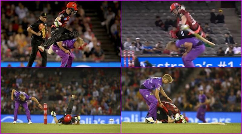 Sam Harper Collides With Bowler During Hobart Hurricanes vs Melbourne Renegades BBL 2019-20 Match, Suffers Concussion