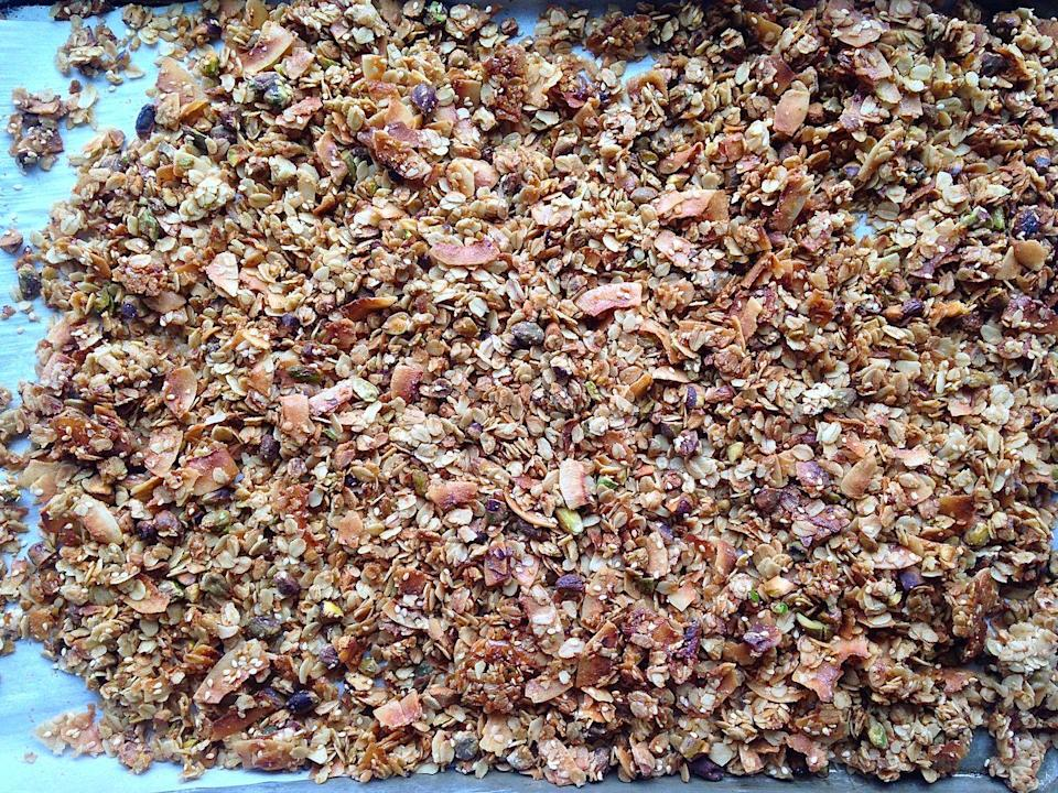 "<p>This is the only granola recipe you'll ever need. And it's stupid easy.</p><p>Get the recipe from <a href=""https://www.delish.com/cooking/a41910/best-granola-recipe/"" rel=""nofollow noopener"" target=""_blank"" data-ylk=""slk:Delish"" class=""link rapid-noclick-resp"">Delish</a>.</p>"