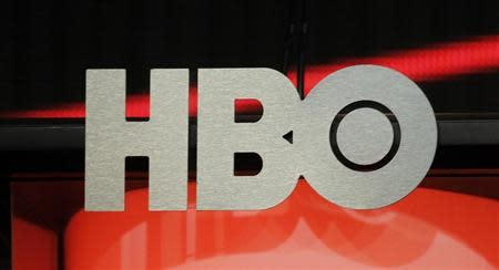 The logo for HBO,Home Box Office, the American premium cable television network, owned by Time Warner, is pictured during the HBO presentation at the Cable portion of the Television Critics Association Summer press tour in Beverly Hills