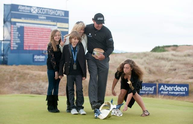Phil Mickelson with his family in Scotland