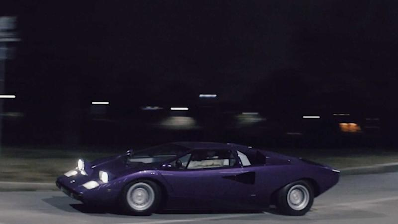 Watch This Purple Lamborghini Countach Race Into The Night