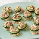 <p>Need an appetizer for your next cocktail party? Look no further than these easy canapés. A blend of smoked tuna and seasoned cream cheese is stacked with crisp cucumber slices atop crunchy almond crackers in an appetizer that your guests will be reaching for first.</p>