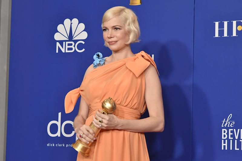 BEVERLY HILLS, CALIFORNIA - JANUARY 05: Michelle Williams attends The 77th Golden Globes Awards - Press Room at The Beverly Hilton Hotel on January 05, 2020 in Beverly Hills, California. (Photo by David Crotty/Patrick McMullan via Getty Images)