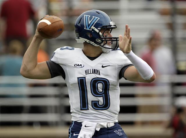 Villanova quarterback John Robertson (19) looks to pass during the first half of an NCAA college football game against Boston College, Saturday, Aug. 31, 2013, in Boston. (AP Photo/Mary Schwalm)