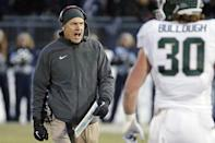 Michigan State head coach Mark Dantonio shouts to an official during the second half of an NCAA college football game against Penn State in State College, Pa., Saturday, Nov. 29, 2014. (AP Photo/Gene J. Puskar)