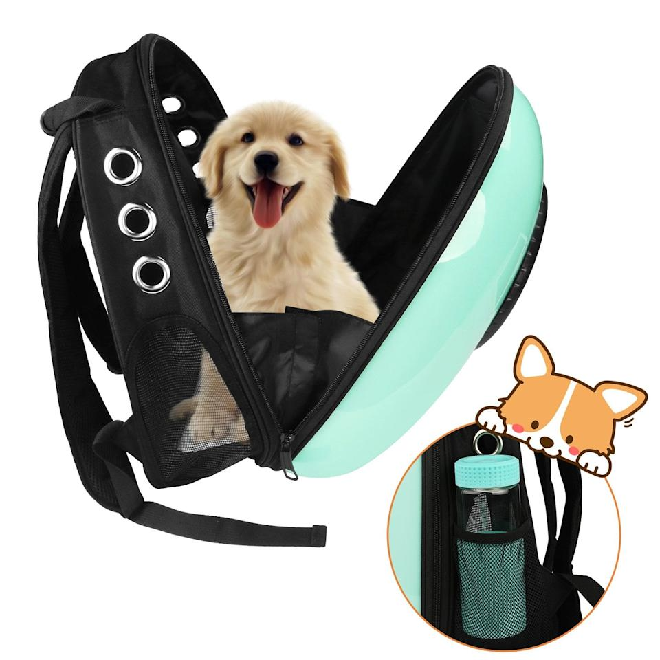 "<p>Take your indoor cat or dog on awesome adventures in this <a href=""https://www.popsugar.com/buy/Anzone-Pet-Portable-Carrier-Space-Capsule-Backpack-371249?p_name=Anzone%20Pet%20Portable%20Carrier%20Space%20Capsule%20Backpack&retailer=amazon.com&pid=371249&price=20&evar1=savvy%3Aus&evar9=46552609&evar98=https%3A%2F%2Fwww.popsugar.com%2Fphoto-gallery%2F46552609%2Fimage%2F46552958%2FAnzone-Pet-Portable-Carrier-Space-Capsule-Backpack&list1=shopping%2Camazon%2Cgift%20guide%2C50%20under%20%2450&prop13=api&pdata=1"" rel=""nofollow"" data-shoppable-link=""1"" target=""_blank"" class=""ga-track"" data-ga-category=""Related"" data-ga-label=""https://www.amazon.com/Anzone-Portable-Waterproof-Lightweight-Animals-Pink/dp/B077D2CKDB?keywords=cat+backpack&amp;qid=1539194117&amp;sr=8-5&amp;ref=sr_1_5"" data-ga-action=""In-Line Links"">Anzone Pet Portable Carrier Space Capsule Backpack</a> ($20, originally $46).</p>"