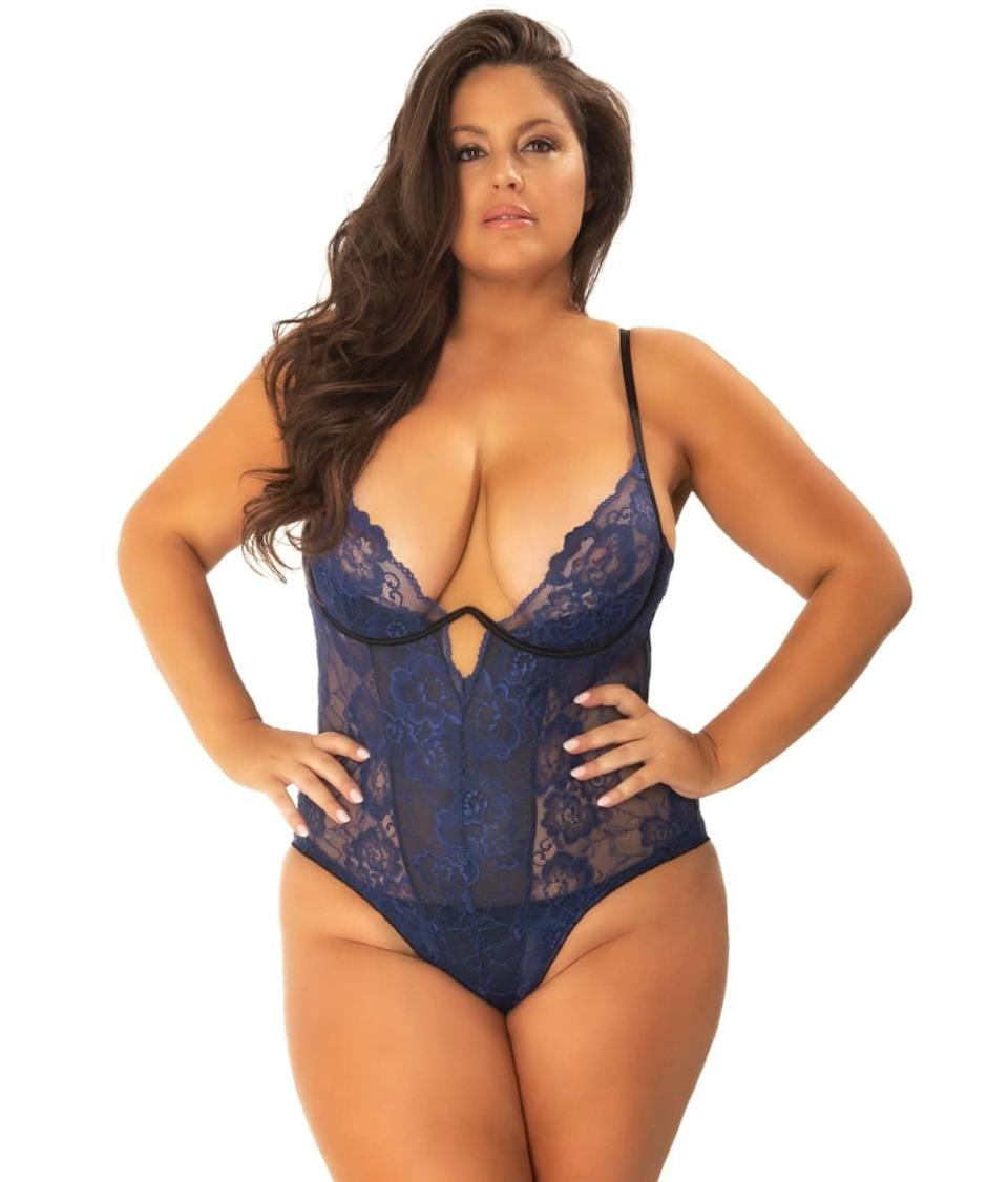 "<br><br><strong>Oh La La Cheri</strong> Plus-Size Patience Floral Lace Teddy, $, available at <a href=""https://go.skimresources.com/?id=30283X879131&url=https%3A%2F%2Fwww.barenecessities.com%2Foh-la-la-cheri---plus-size-patience-floral-lace-teddy-51-10980x_product.htm%3Fpf_id%3DOhLaLaCheri5110980X%26color%3DEstate%2520Blue%2520%2F%2520Black%23mz-expanded-view-939144183590"" rel=""nofollow noopener"" target=""_blank"" data-ylk=""slk:Bare Necessities"" class=""link rapid-noclick-resp"">Bare Necessities</a>"