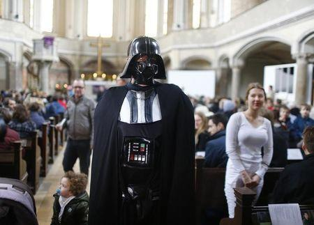People dressed as Star Wars characters attend church service in Berlin