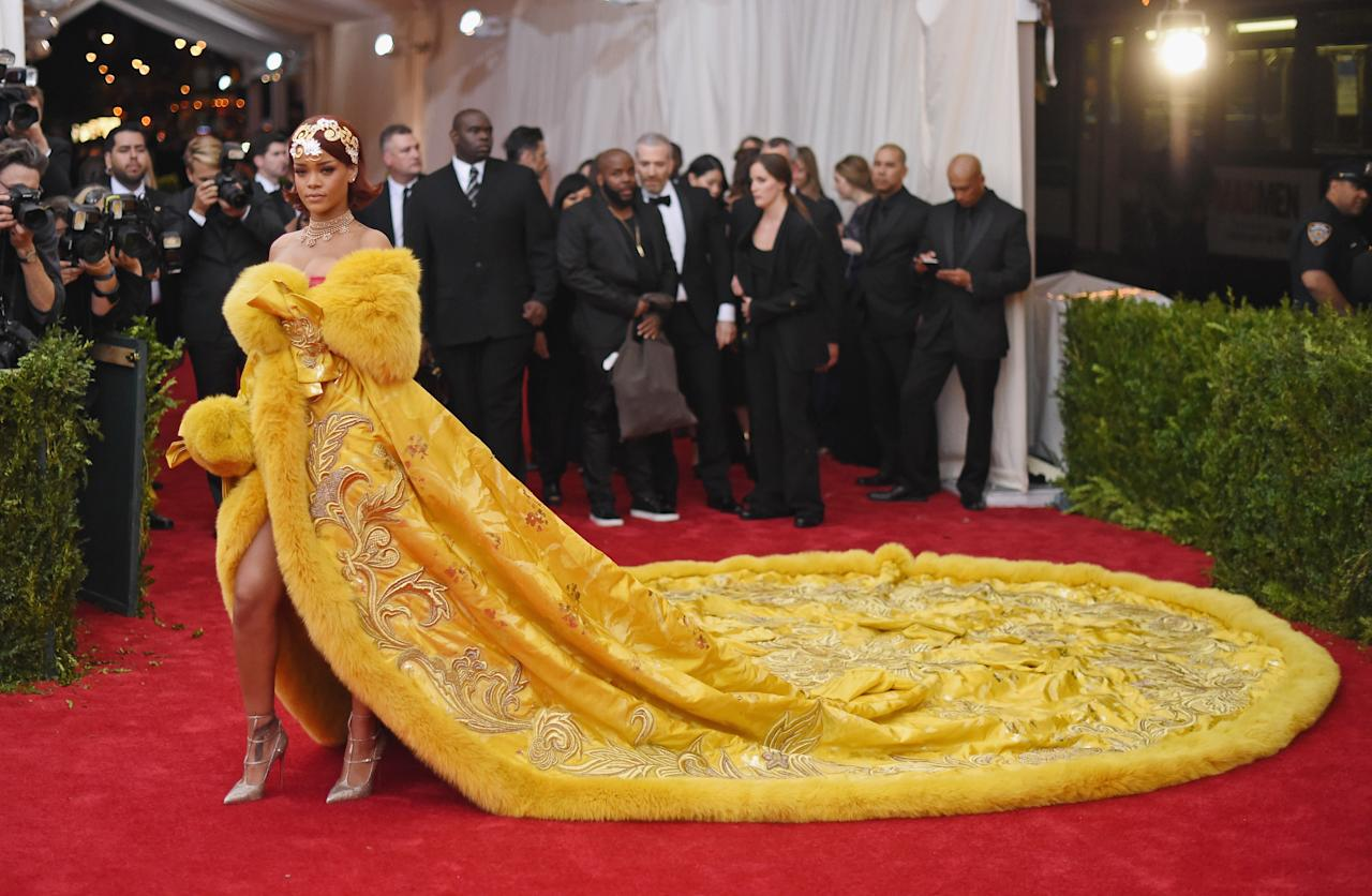 <p>It was the dress that spawned a thousand omelette-related memes. Yes, Rihanna's 2015 Met Gala dress will never be forgotten and you will not believe how long it took to create. <br />It was never designed for the songstress, as it was in fact sitting in Guo Pei's studio for three years before it was uncovered.<br />The now-famous dress weighed approximately 25kg and boasted an impressive 16ft train. Having taken over two years to make, the garment features over 50,000 hour's worth of hand-stitched embroidery. <em>[Photo: Getty]</em> </p>