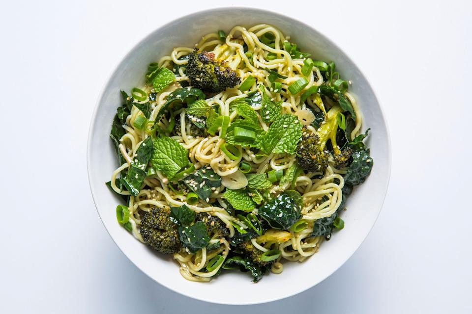"Instead of deep-frying the broccoli in this sesame noodles recipe, we used a high-heat roasting method. <a href=""https://www.bonappetit.com/recipe/cold-sesame-noodles-with-broccoli-and-kale?mbid=synd_yahoo_rss"" rel=""nofollow noopener"" target=""_blank"" data-ylk=""slk:See recipe."" class=""link rapid-noclick-resp"">See recipe.</a>"