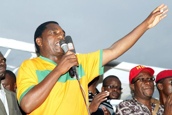 Hakainde Hichilema, leader of Zambia's main opposition United Party for National Development (UPND), addresses supporters on January 18, 2015 at Woodlands Stadium in Lusaka ahead of the country's January 20 presidential election (AFP Photo/Salim Dawood)