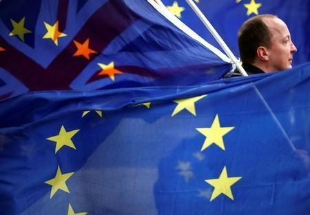 FILE PHOTO: An anti-Brexit protester is seen among EU flags outside the Houses of Parliament in London