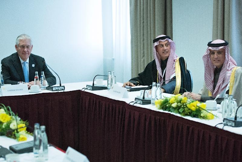 US Secretary of State Rex Tillerson (L) and Saudi Arabia's Foreign Minister Adel bin Ahmed Al-Jubeir (R) pictured at a meeting about Yemen at the Steigenberger Hotel in Bad Neuenahr, near Bonn on February 16, 2017 (AFP Photo/Brendan SMIALOWSKI)