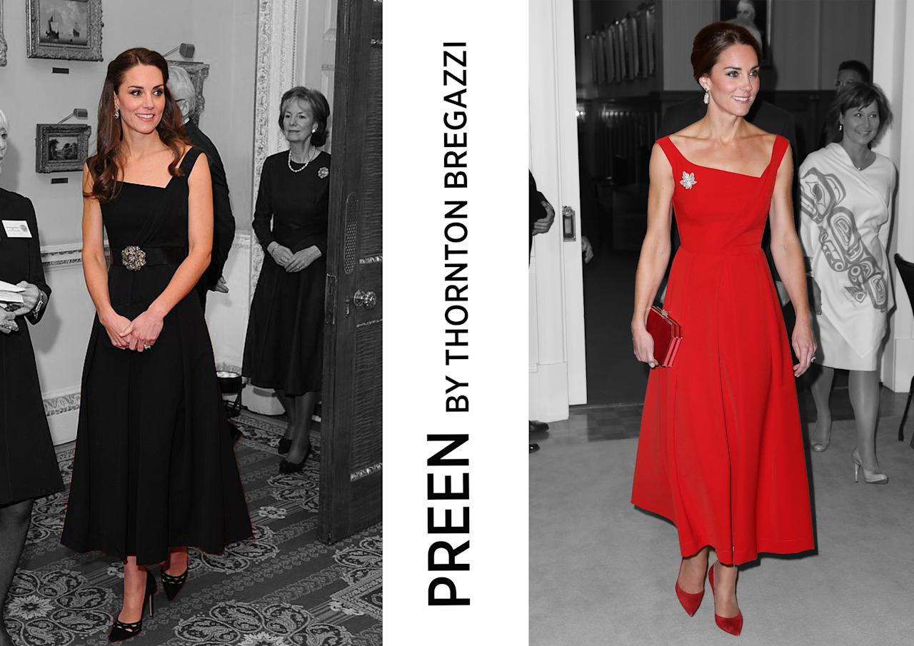 <p><b><b>Design duo Justin Thornton and Thea Bregazzi have been showing their label Preen at London Fashion Week since 2011 (with a brief stint in NY). Their designs have been worn by a huge host of A-listers, including Cate Blanchett, Michelle Obama and, of course, the Duchess of Cambridge. Kate wore a vivid asymmetric dress dress by the label while touring Canada in 2016 and a black version a couple of months later at a London event.<br /><em>[Photos: Getty/Yahoo Style UK]</em> </b></b></p>