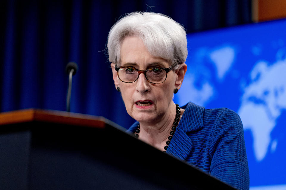 Deputy Secretary of State Wendy Sherman speaks on the situation in Afghanistan at the State Department in Washington, Wednesday, Aug. 18, 2021. (AP Photo/Andrew Harnik, Pool)