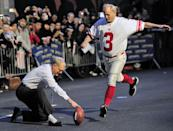 <p>Bill Murray attempts a field goal on New York's 53rd Street with Late Show host David Letterman doing the holding on the Tuesday Jan. 31, 2012 taping of the Late Show with David Letterman.</p>