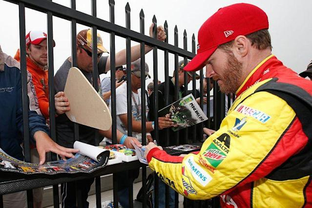 Dale Earnhardt Jr. and his many, many fans. (Getty)