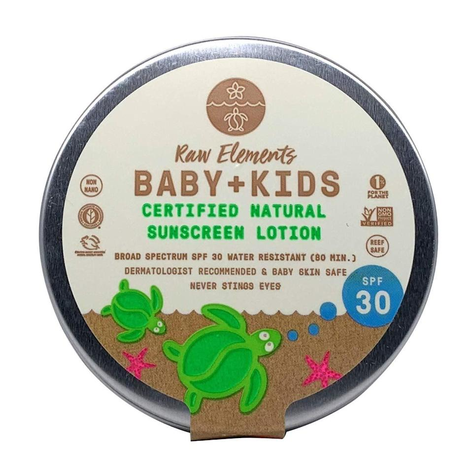 "<p>Aside from the cute packaging, th e<a href=""https://www.popsugar.com/buy/Raw-Elements-Baby-Kids-Sunscreen-Lotion-Tin-SPF-30-575730?p_name=Raw%20Elements%20Baby%20%2B%20Kids%20Sunscreen%20Lotion%20Tin%2C%20SPF%2030&retailer=amazon.com&pid=575730&price=18&evar1=moms%3Aus&evar9=17218020&evar98=https%3A%2F%2Fwww.popsugar.com%2Fphoto-gallery%2F17218020%2Fimage%2F47492714%2FRaw-Elements-Baby-Kids-Sunscreen-Lotion-Tin-SPF-30&list1=sunscreen%2Csummer%2Cfamily%20travel%2Ckid%20shopping%2Chealth%20and%20wellness%2Cbaby%20shopping&prop13=api&pdata=1"" rel=""nofollow noopener"" class=""link rapid-noclick-resp"" target=""_blank"" data-ylk=""slk:Raw Elements Baby + Kids Sunscreen Lotion Tin, SPF 30"">Raw Elements Baby + Kids Sunscreen Lotion Tin, SPF 30</a> ($18) is also filled with goodness - it has excellent UVA protection!</p>"
