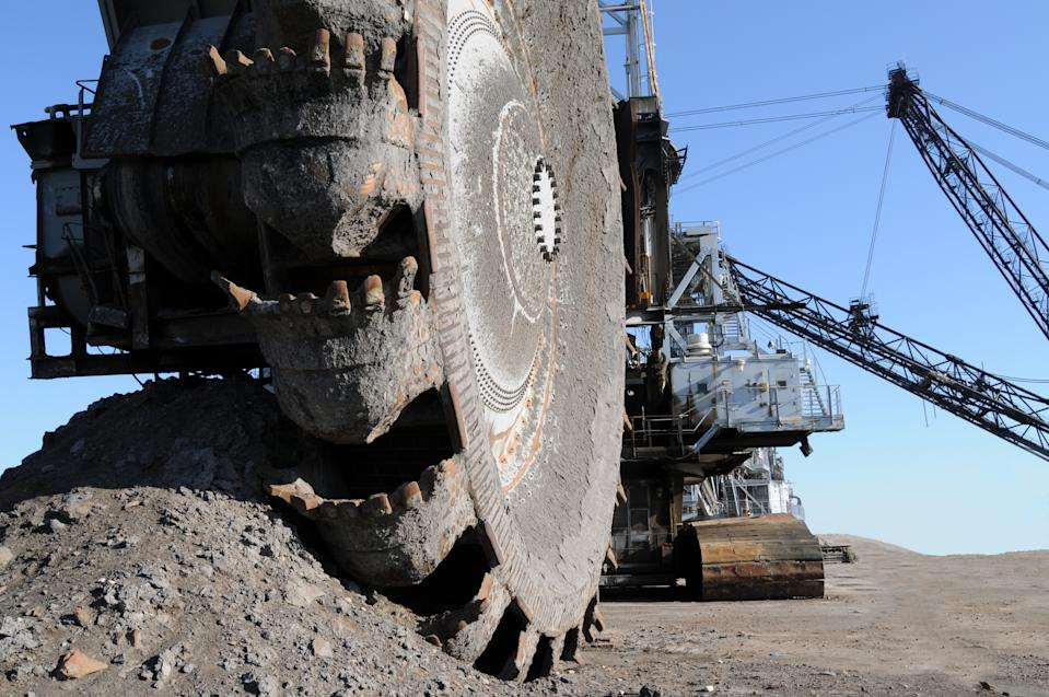 Closeup of a bucketwheel reclaimer at oilsands mines of Fort McMurray, Alberta, Canada.
