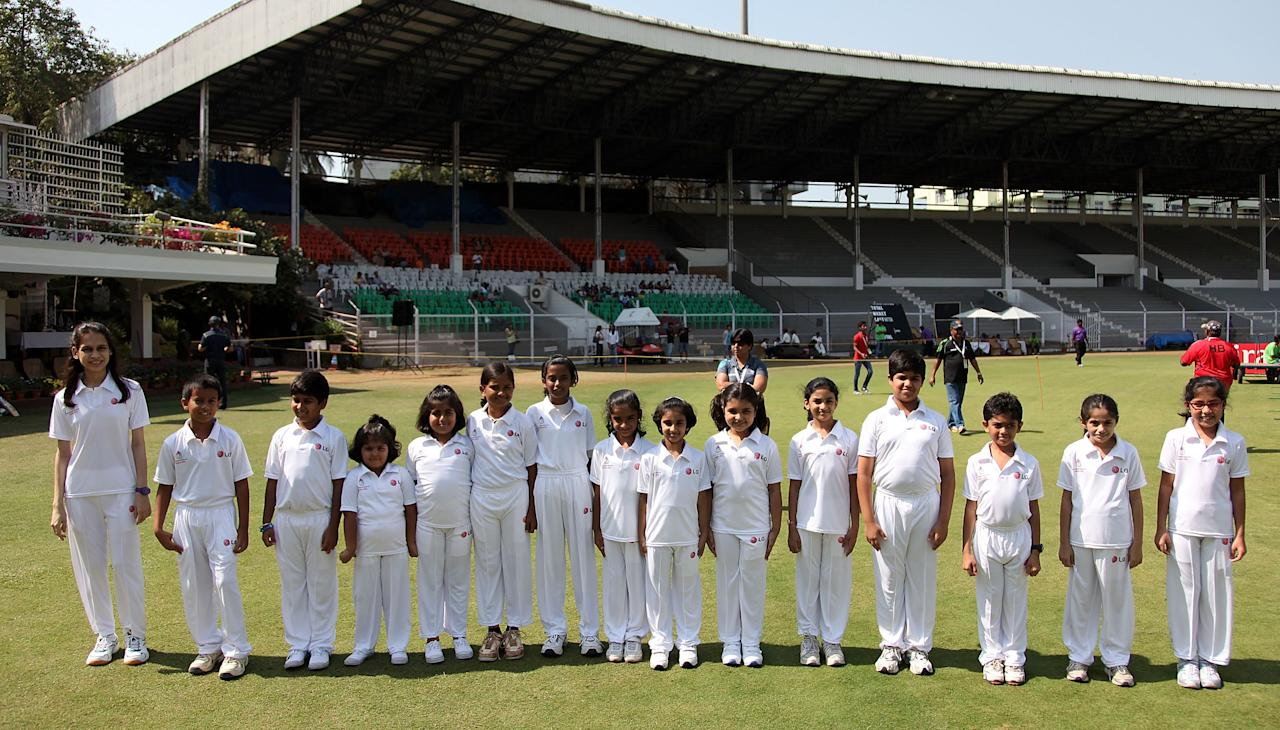 MUMBAI, INDIA - FEBRUARY 17: The LG Mascots about to enter the ground ahead of the final between Australia and West Indies of the Women's World Cup India 2013 played at the Cricket Club of India ground on February 17, 2013 in Mumbai, India. (Photo by Graham Crouch/ICC via Getty Images)