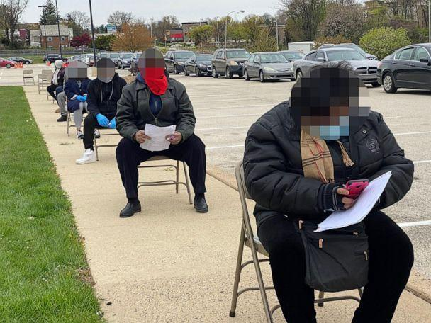 PHOTO: Philadelphia residents wait in line for free testing offered by Dr. Ala Stanford (Pastor Marshall Mitchell via Black Doctors Covid19 Consortium)