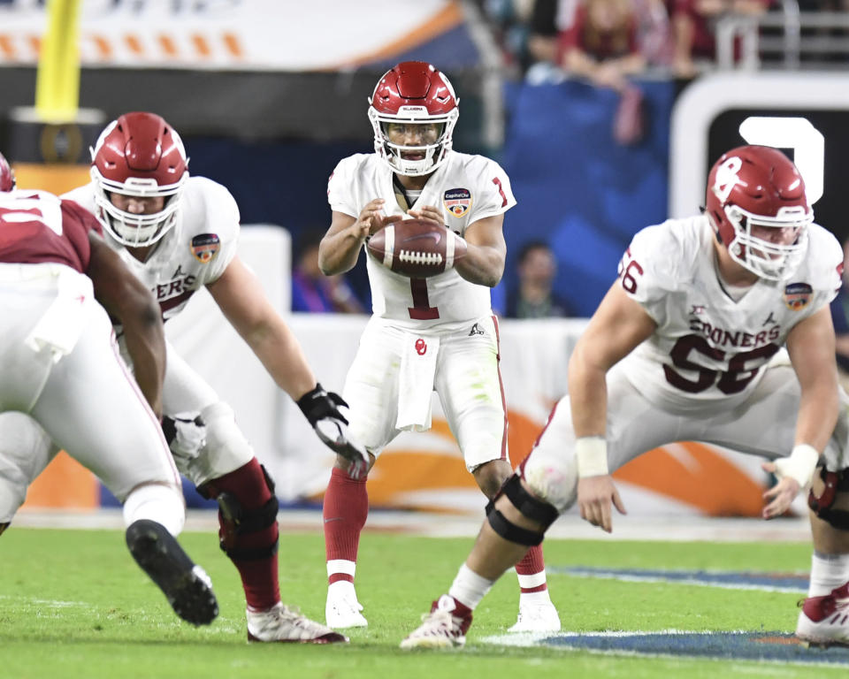 Kyler Murray has Jon Gruden's attention, even though the Oklahoma QB isn't at the Senior Bowl, where Gruden is this week evaluating prospects for the 2019 NFL draft. (AP)