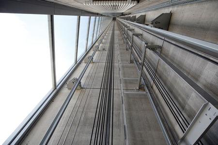 FILE PHOTO: An elevator shaft is pictured inside Thyssenkrupp's elevator test tower in Rottweil, Germany, September 25, 2017. REUTERS/Michaela Rehle/File Photo