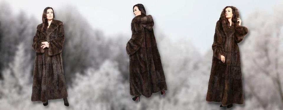 ong Fur Coat with a Hood, Real Russian Sable