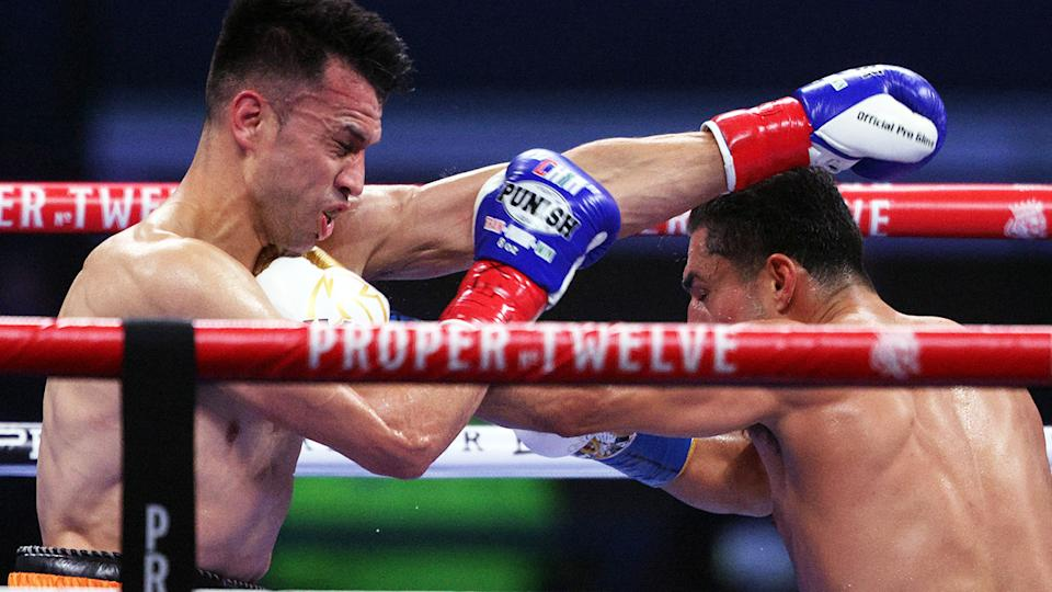 Francisco Santana and Josesito Lopez, pictured here during their welterweight fight.