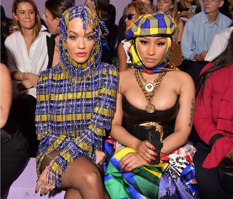 Nicki Minaj and Rita Ora at the Versace show