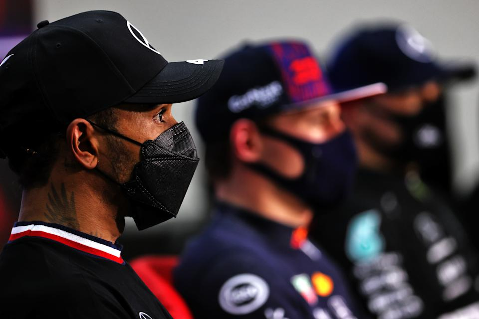 Second placed qualifier, Lewis Hamilton of Great Britain and Mercedes GP talks during a press conference after qualifying ahead of the F1 Grand Prix of Bahrain at Bahrain International Circuit on March 27, 2021 in Bahrain.
