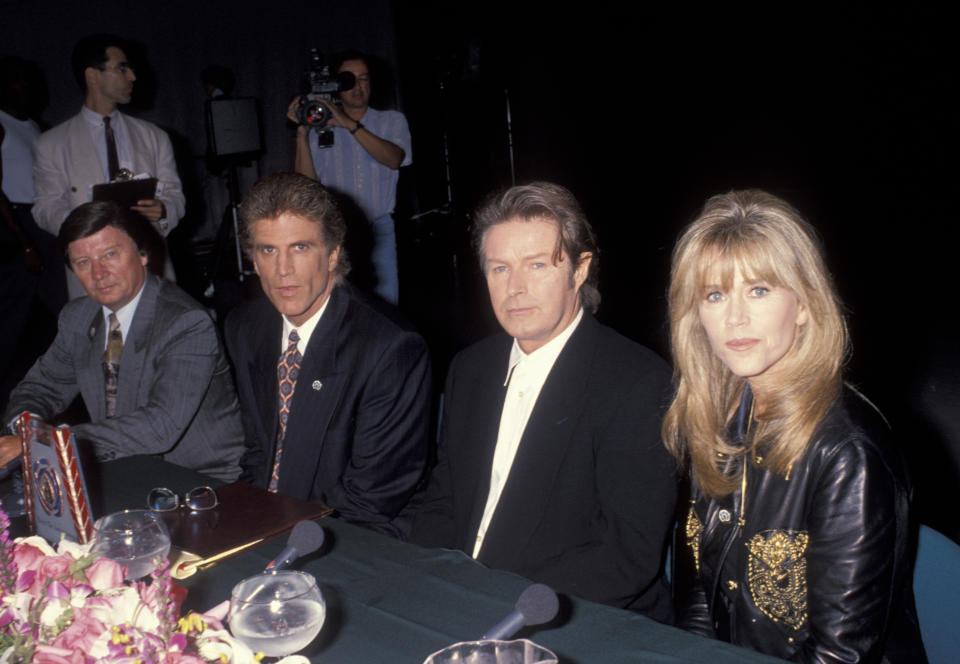 "HOLLYWOOD - JULY 10:  Musician Don Henley of The Eagles, actor Ted Danson and actress Jane Fonda attending ""United Nations First Annual Earth Day International Awards"" on July 10, 1993 at CBS Studios in Hollywood, California. (Photo by Ron Galella, Ltd./Ron Galella Collection via Getty Images)"